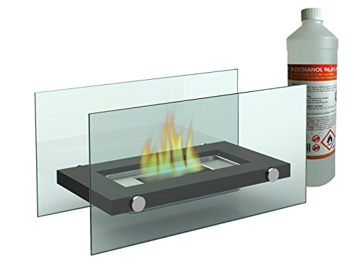 Deko Tischkamin / Glaskamin (34x17cm) inkl. 1Liter Bio-Ethanol, Tischfeuer für eine behagliche Atmosphäre