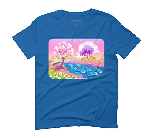 Astral landscape with trees and river. Men's Graphic T-Shirt - Design By Humans Royal Blue