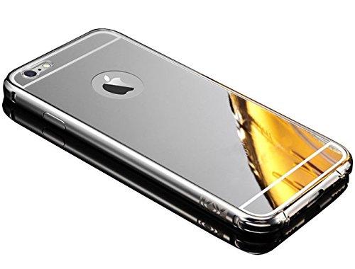 Sunroyal für iPhone 7 4.7 Zoll Gold Mirror Spiegel Metall Case Cover - Aluminium Rahmen PC Zurück Rückseite Bumper Case Metal Hülle Alu Metal Schutz Mirror Chrom Cover Ultra Slim Handy Tasche LUXUS Me Silber