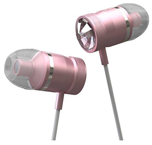 Innomark Headset mit Swarovski Kristallen - In-Ears mit Starkem Bass - Kabelgebundene Kopfhörer mit Mikrofon - für Smartphones und MP3-Player, Pink