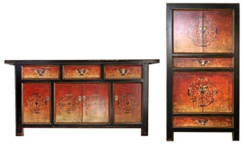 OPIUM OUTLET Chinesische Möbel Kombination Fire Shabby Chic Vintage Sideboard Kommode Hochzeitsschrank Nachtkästchen (Fire-2)