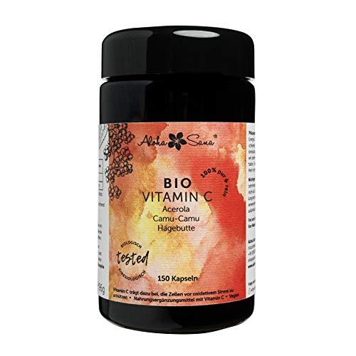 Aloha Sana ® - Natürliches Bio Vitamin C Kapseln mit Acerola, Camu Camu & Hagebutte, 150 Kapseln, vegan, Violettglas, energetisch getestet, laborgeprüft, DE-ÖKO-007, Made in Germany