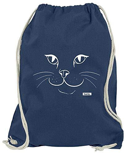 HARIZ Turnbeutel Katze Gesicht Tiere Kindergarten Plus Geschenkkarten Navy Blau One Size - Faktor Gesicht