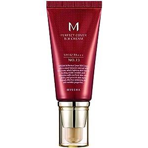 Crema hidratante con maquillaje y FPS 42 / PA+++ Missha M Perfect Cover BB Cream (número 13 / bright beige), una unidad de 50 ml