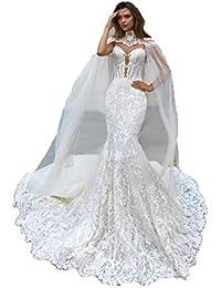 d47e31bb4ccb Splendida Mermaid Abiti da Sposa in Pizzo con Cape Sheer Plunging Neck  Bohemian Abito da Sposa