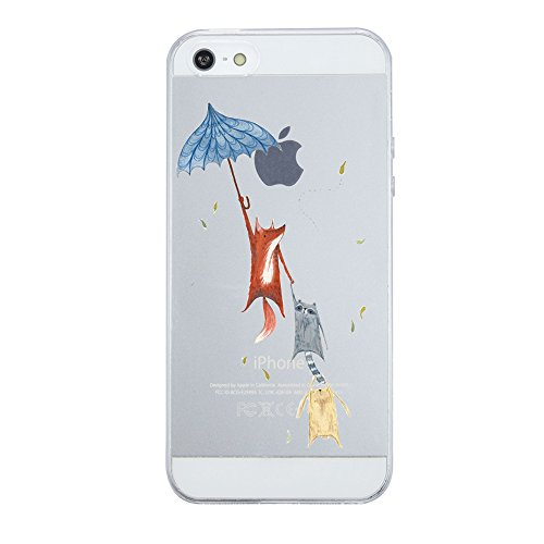 Caler iPhone SE Hülle Weiche Flexible Silikon-Handy-Hülle Transparente Ultra Slim TPU dünne stoßfeste mit Motiv Rundum-Schutz Tasche Etui Schutzhülle Case Cover (Fuchs)