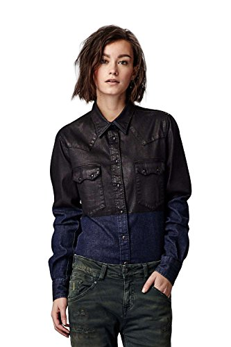 Meltin'Pot - Camicia Jeans CLEA D2006-RL010 modello western look denim per donna - taglia small