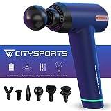 CITYSPORTS Muskel massagepistole Handgehalten, schnurloses Tiefenmassagegerät, tragbares Massagegerät mit 6 Massageköpfen (blue)