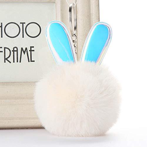 AMA-StarUK362PCS Cute Rabbit Ear Hair Ball Keychain Quick Release Staccabile Portachiavi, 01