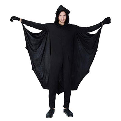 (GHLLSAL Erwachsene Mann Halloween Black Bat Kostüm Idee Phantasie Cosplay Kapuzen Jumpsuit Männlichen Coole Fleece Outfit Kleidung, Eine Größe)