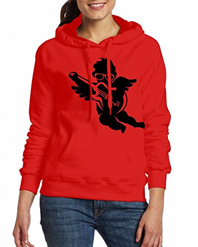 A cherub with cool glasses and an electric guitar Womens Hoodie Fleece Custom Sweartshirts Red