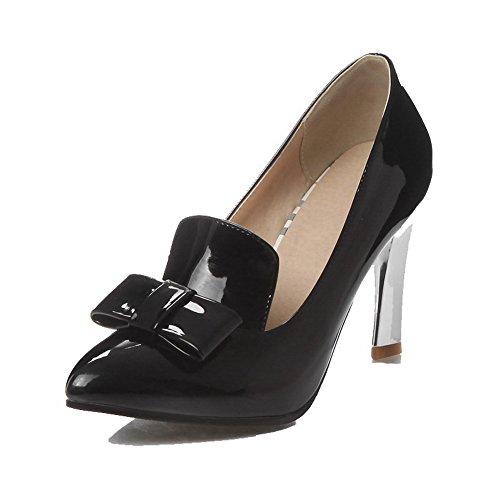 AgooLar Femme Tire Pointu Stylet Verni Couleur Unie Chaussures Légeres Noir