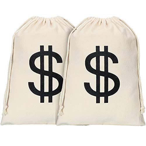 2 Stücke Dollar Zeichen Geldsäcke Canvas Taschen mit 2 Stücke Schwarzen Gesichtsmasken Halloween Kostüm für Halloween Cosplay Party Lieferungen (Größe 2)