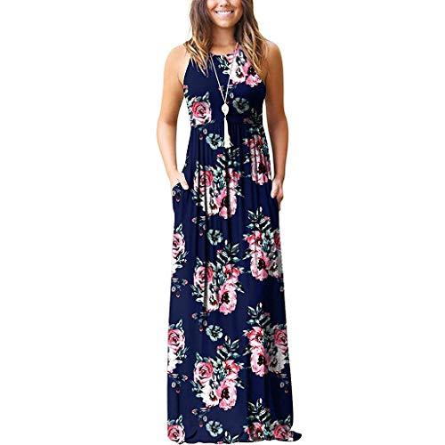 Kleider Sasstaids Frauen ärmellose Blume gedruckt Böhmen langes Kleid mit Tasche Sommerkleid Partykleid