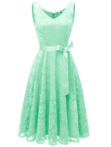 AONOUR AR8008 Damen Floral Spitze Brautjungfern Party Kleid Knielang V Neck Cocktailkleid Mint XS