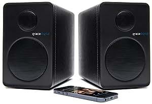 Grace Digital 2x Enceintes Etagères Bluetooth Compatible avec Smartphones, iPods, Laptops, Tablettes, CD Players, TVs, et Appareils MP3 - Noir