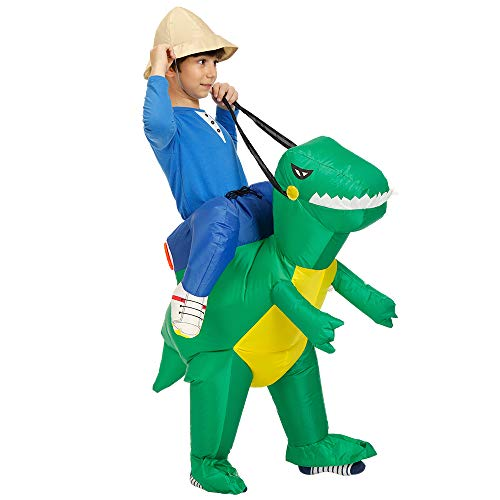 CBA BING Kind aufblasbare Dinosaurier Anzug, Dress Ride me kostüm Anzug für Halloween Party kostüm Party Cosplay (Dinosaurier tragen Mich),Grün (Einzigartige Easy Halloween Kostüm)