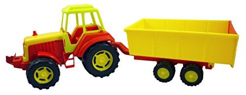 65cm grande del rojo, amarillo y verde de plástico de juguete tractor con remolque [Toy]