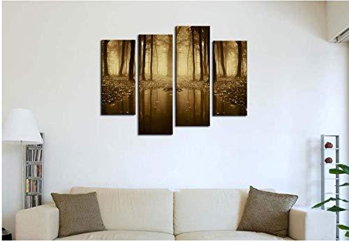 LJLSLH Leinwanddrucke 4 Stücke Moderne Leinwand Malerei Wandkunst Dekoration Von See Haus Herbst Nebel Wald Landschaft Größe 2 (Kein ()