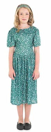 Mädchen 1940s Jahre WW2 1. Weltkrieg Kriegszeit grün Krieg Umsiedler Flüchtling Kostüm Kleid Outfit 6-12 Jahre - Grün, 10-12 years, Grün