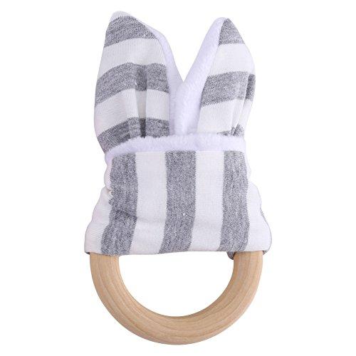 Zerodis Beißring Beiß Teether Zahnen mit Dekoration Natürlichen Holz für Mädchen und Jungen Babys Kinder 2Pcs(Grau) (Baby-rassel Natürliche)