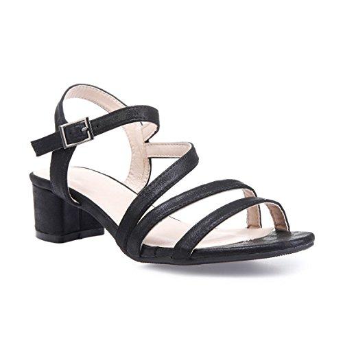 La Modeuse Sandales en Simili Cuir Texturé et Scintillant Noir