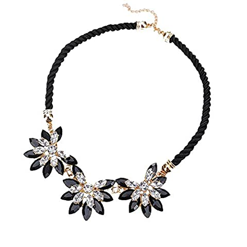 Vincenza Fashion Ladies Crystal Flower Necklace Choker Bib Statement Collar Chain (BLACK)