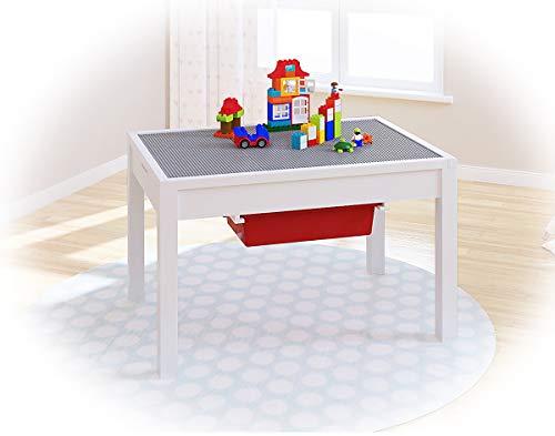 UTEX Dulux 2 in 1 Kinder Bau Play Tisch,weiß - Großen Grundplatten Lego