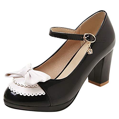 Low Heel Chunky Heels Kleid Schuhe für Frauen - Komfortable Knöchelriemen Pumps Round Toe Damen Mary Jane Schuhe