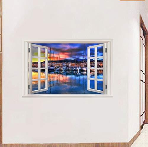 Neue 3D Fenster Ansicht Wandaufkleber Sonnenuntergang Landschaft Strand Seite Stadt Aufkleber Vinyl Tapete Wohnkultur Wohnzimmer Poster
