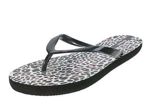 Beppi lingua donna sandali scarpe da spiaggia Sandali Scarpe di balneazione in Leopardenmuster * nuova collezione * Nero (nero)