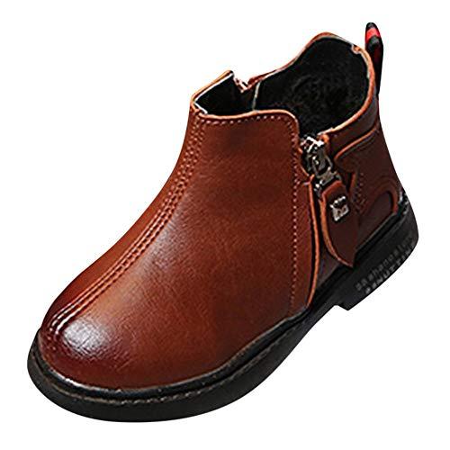 Fenverk Kinder Schuhe Mode Jungs MäDchen Martin Sneaker Stiefel BeiläUfig Kind Winter Warm Dick Baby Leder Schnee Trainer(Braun,27 EU)