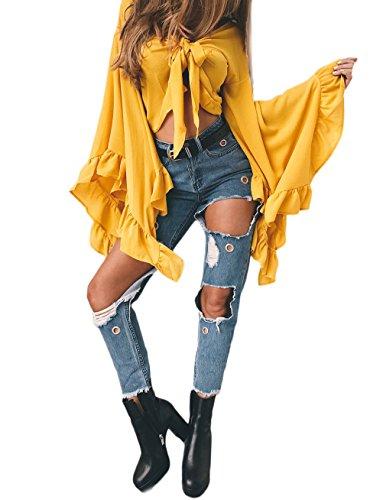 Camicia Donna Elegante Chiffon Manica Lunga Maniche Tromba Con Volant Corta Cravatta A Farfalla Vintage Estiva Unique Camicie Blusa Crop Top YGialli