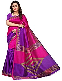 Applecreation Women'S Art Silk Saree With Blouse Piece (Pink & Purple_Free Size )