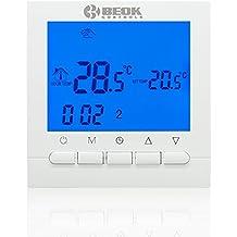 Termostato de caldera de gas Beok BOT-313W, programa semanal, batería AA,