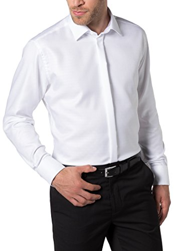 ETERNA long sleeve Shirt MODERN FIT Twill structured Bianco