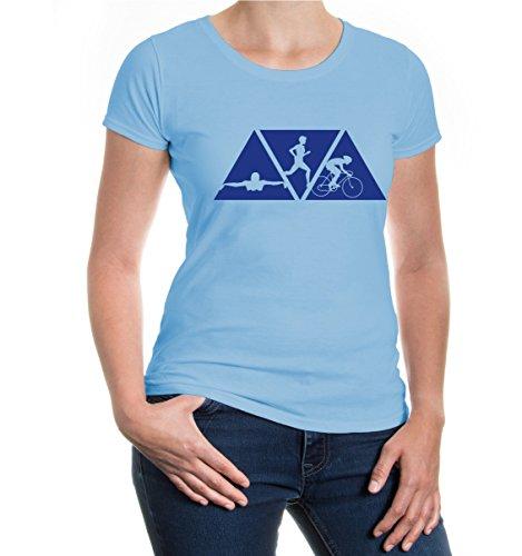buXsbaum® Girlie T-Shirt Schwimmen Laufen Radfahren Skyblue-Royal