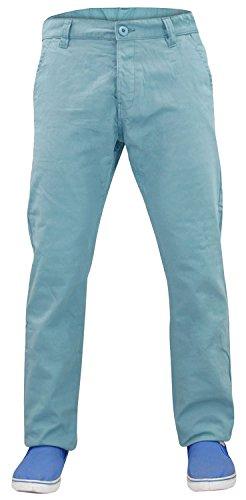 Kushiro Designer-Chinohose für Herren, Slim Fit, gerades Bein, aus Baumwolle Gr. 88, Delphinium Blue (Blau-stich Gesäßtasche-jeans)