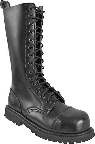 Gear Walk Springerstiefel 10, 14 oder 30 Loch mit Stahlkappe und echtem Leder Farbe Schwarz/14-Loch Größe 6
