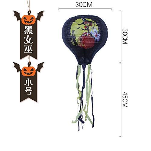 Mjia Lamp Halloween-Schnur,Kürbis-Monster-Heißluft-Ballon-Papierlaterne, Halloween-Park-Party-Dekoration, a