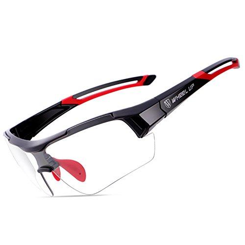 wheelup Unisex Allwetter-Einsatz Verfärbungsgläser / Automatische Scheibentönung Sportstyle Sonnenbrille, ideale Schutzbrille für Radsport (Rot)