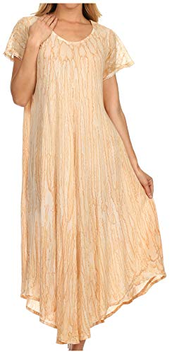 Sakkas 14802 - Faye Cap Ärmel Viskose Caftan Cover Up Kleid - Natürlich - OS (Plus Größe Kreuzfahrt Kleider)
