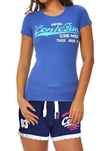 M.Conte Damen T-Shirt Kurzarm T Sweat-Shirt Neon-Pink Lila Grau Blau Rose Rot Grün Schwarz S M L XL Farbe Dunkel-Blau Größe L