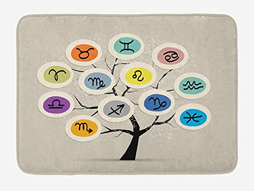 BUZRL Zodiac Bath Mat, Artistic Tree with Different Horoscope Signs in Colorful Circles Astrology Theme, Plush Bathroom Decor Mat with Non Slip Backing, 23.6 W X 15.7 W Inches, Multicolor (Rv-monster-truck)