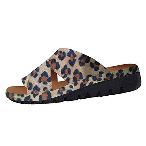 COZOCO Damenmode Flats Wedges Open Toe Knöchel Strand Schuhe Roman Slippers Sandalen(C-Khaki,38 EU)