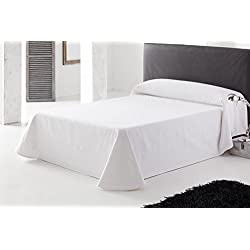 ES-TELA - Colcha boutí LIDO color Blanco - Cama de 150/160 cm. - Tejido jacquard - 50% Algodón/50% Poliéster