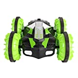 HUANCO Voiture Télécommandée,4 Roues motrices Imperméable Double-Face Amphibie RC Stunt Car Rotation à 360 ° (Vert)