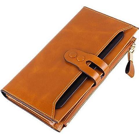 Da Wu Jia señoras bolso de lujo de alta calidad femenil de cera de aceite de gran capacidad de cuero auténtico embragues Moda Monedero tallado tirando de la correa cremallera uckle bolsos ,