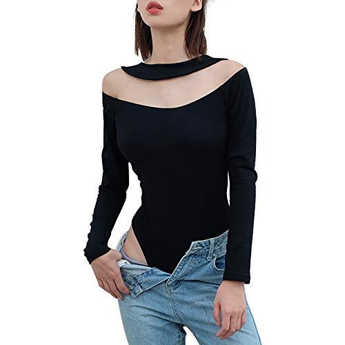 Fymia♥♥✔✔ Sexy O-Neck Solid Schwarz Overalls Langarm Aushöhlen Skinny Sexy Overall Unterwäsche