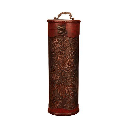 Weinkiste für 1 Flasche, Holz, für Jahrestag, Zeremonie für Paare, Hochzeit, groß, Vintage-Weinkoffer, mit Griff, Holz, Antik-Finish, Zylinder -